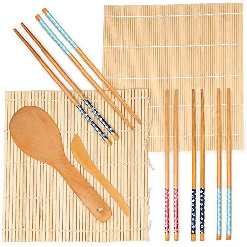 9 Pc Kit para Hacer Sushi de Bambú - 2 Esterilla de Bambú Sushi, 5 Pares de Palillos, 1 Paleta de Arroz, 1 Esparcidor de Arroz - 100{b290c930e76ab218a18d97db8f2cb2bffab1670ee8cee3c4cc59ca9f07a876fd} Natural y Carbonizado| DIY Bricolaje Principiantes Regalo Navidad