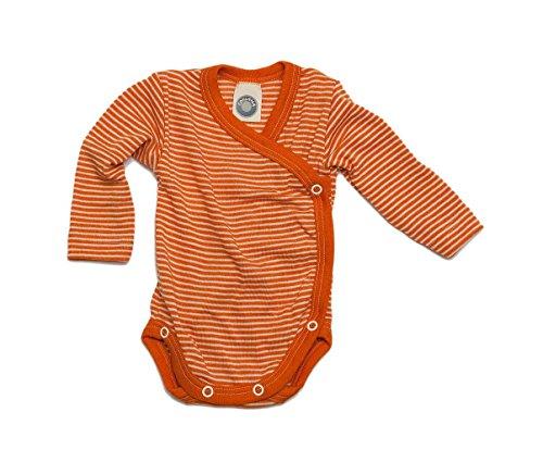 Cosilana Cosilana - Baby Wickel Body 1/1 Arm, 62/68, geringelt Safran-Orange Natur, 70% Schurwolle kbT, 30% Seide