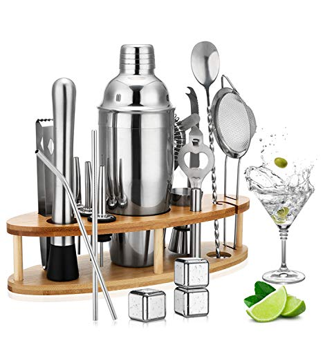 Cocktail Shaker Set,18 Pcs Cocktail Making Set and Stand, Stainless Steel Bar Tool Kit with Boston Bartender,Double-Sided Jigger,Strainer Tube,Cocktail Book Perfect for Home bar