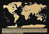 NIMAXI Weltkarte zum Rubbeln, Größe 83x58 cm, Farbe: schwarz Hochglanz, XXL Poster Rubbelkarte mit Fahnen zum freirubbeln