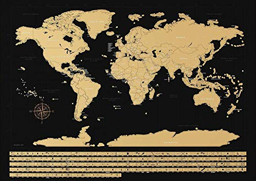 NIMAXI - Mapamundi para rascar con Banderas | Mapa Mundial de Pared en Negro Grande - 83x58 cm