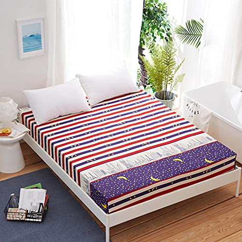 CYYyang Protector de colchón/Cubre colchón Acolchado, Ajustable y antiácaros. Sábana Antideslizante con Todo Incluido de Color puro-38_150 * 200 * 25cm