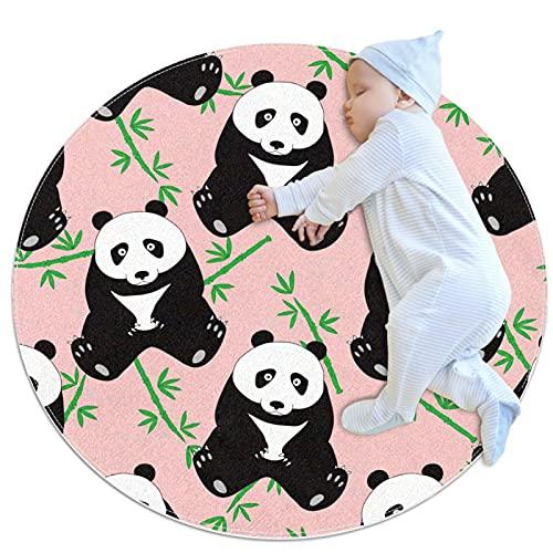 Niedlicher Panda Bambus-Teppich, rutschfest, klein, rund, Bodenmatte, waschbar, rutschfest, für Wohnzimmer, Schlafzimmer, Küche, Heimdekoration, 91 cm