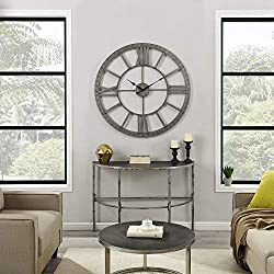 FirsTime & Co. Silver Big Time Clock, American Crafted, Distressed Silver, 40 x 2 x 40, (31124)