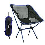 Silla de camping Niceao plegable y portátil para usar al aire libre, para disfrutar de la luna o de la playa, con bolsa para llevar mientras haces senderismo, viajes, caza o pesca, azul