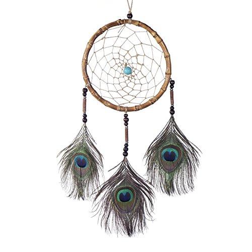 Großer Traumfänger für gute Träume mit Perlen und echten Pfauenfedern, Holzring nussbraun Ø 17 cm