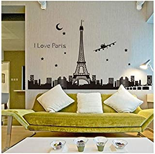 OTTATAT Wall Stickers Flowers 2019,Paris Eiffel Tower Night Removable Luminous Vinyl Decal Decoration Easy to Stick Wedding Anniversary Couple Suite Gift for Children Free Post
