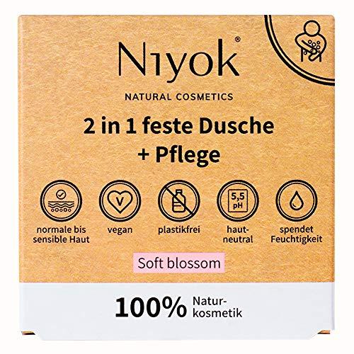 Niyok® 2 in 1 feste Dusche und Pflege | festes Duschgel ohne Palmöl | hautneutral pH 5,5 vegan plastikfrei | wie Duschseife Bio Seife Naturkosmetik | spendet Feuchtigkeit | Soft blossom (80g)