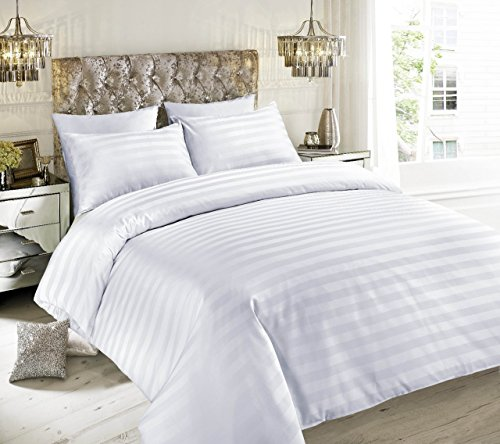 Satin Stripe 100% Egyptian Cotton 500 Thread Count Duvet Quilt Cover Sets With Pillowcases Bedding Set Double King Super King (White, King)