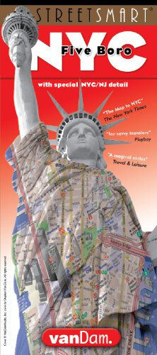 StreetSmart New York City Five Boros Map by VanDam -- Laminated pocket sized fold out map to the Five Boros of NYC with all attractions, museums, hotels and sight plus subway map, 2017 Edition