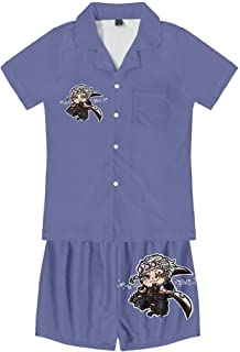 Pyjama Sets,Anime Demon Slayer Printed Nightwear Loungewear Set Breathable Comfortable Short Sleeve 2 Piece Set Unisex