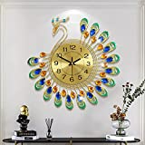 FLEBLE Large Wall Clocks for Living Room Decor Gold Decoration Wall Clock Silent Battery Operated Non Ticking for Bedroom Kitchen 14 Inch Retro Peacock Crystal Wall Watch Quartz for Home Office Indoor
