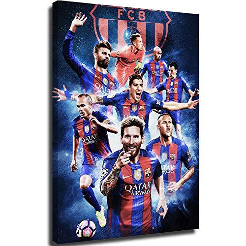 PLAZALA Cuadros famosos de la pared del lienzo de Barcelona Star Line Messi pintado a mano, 61 x 91,4 cm