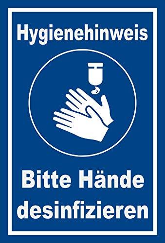 Melis Folienwerkstatt Schild Hände desinfizieren - 15x10cm - 3mm Aluverbund – 20 VAR S00225-038-F