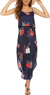 Qearal Women's Strappy Casual Loose Boho Chiffon Halter Sleeveless Long Maxi Beach Party Dress