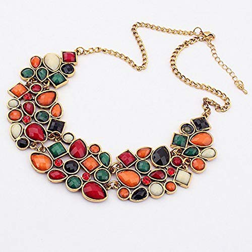 QWERTYU - Collar Retro geométrico de Empalme con Cadena de Color Mixto...