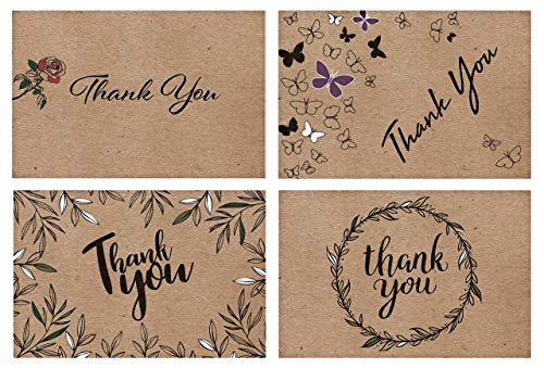 100 Kraft Thank You Cards Bulk- 4 Designs of Assorted Thank U Greeting Notes, Blank Inside with Matching Envelopes & Stickers. Perfect for Baby Shower, Wedding, Business, Much More.
