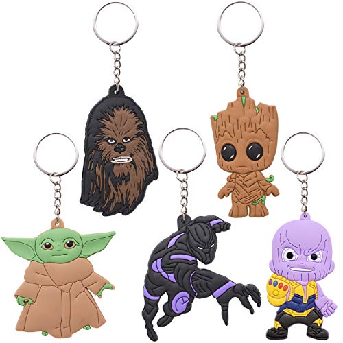 Set of 5 Baby Yoda Keychain ZSWQ-The Mandalorian Keychain The Round Pendant Lobster Buckle Key Ring Car Key Chain for Unisex Perfect as a Gift