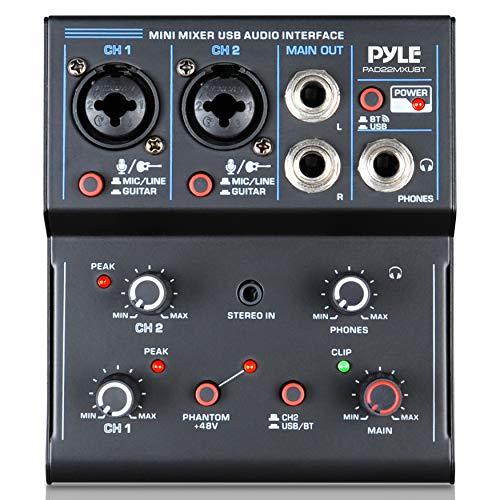 Professional Wireless DJ Audio Mixer - 2-Channel Bluetooth DJ Controller Sound Mixer w/USB Audio Interface, Combo Jack Microphone/Guitar XLR+6.35mm, 3.5mm Stereo in, Headphone Jack - Pyle PAD22MXUBT