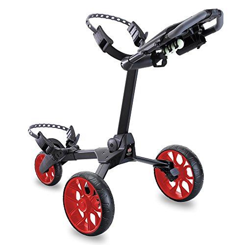 Stewart Golf R1-S Push Golf Cart (Black/Red Wheels)