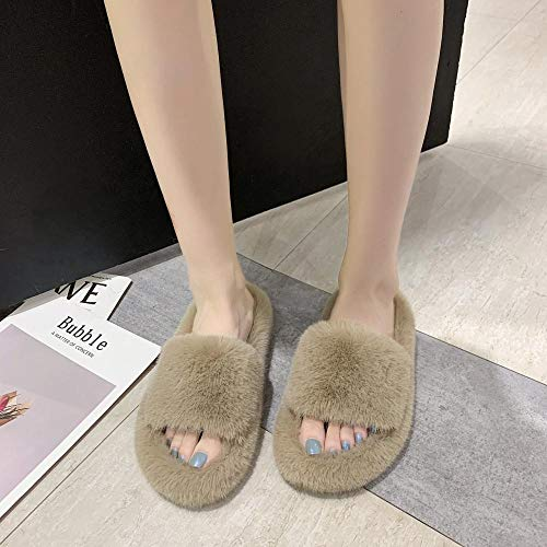 Zapatos Invierno Algodon Casa Slippers,Zapatillas Exteriores, Zapatillas Interiores de algodón de Fondo Plano-Khaki_38,Zapatillas casa Confort de algodón