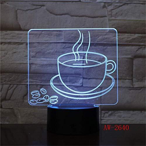 3D-Lampe Kaffeetasse Illusion Led Usb-Lampe Touch Rgb 7 Farbwechseltisch Nachtlicht Nachttisch Dekoration Leding