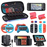 Accessories Kit Bundle for Nintendo Switch, Compact Playstand, Joy-Con Charging Dock, Grips, Racing Wheels, Carrying case, Screen Protectors, Game Card Holders, Caps, 20-in-1 Gift, Starry Pattern