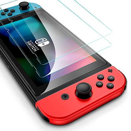 Flysee Vetro Temperato per Nintendo Switch 2019, [2 Pezzi] Pellicola Protettiva per Nintendo Switch, Facile da Installare, Senza Bolle, 9H Durezza, Anti-Graffio