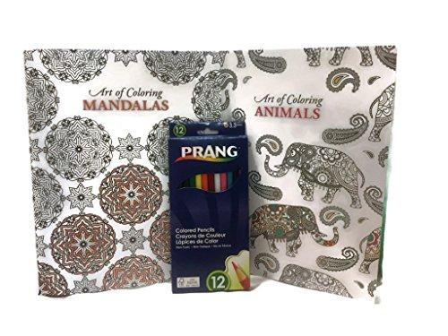 Adult Coloring Bundle (3 Items) Art of Coloring Animals; Art of Coloring Mandalas;12 Pack Prang Colored Pencils