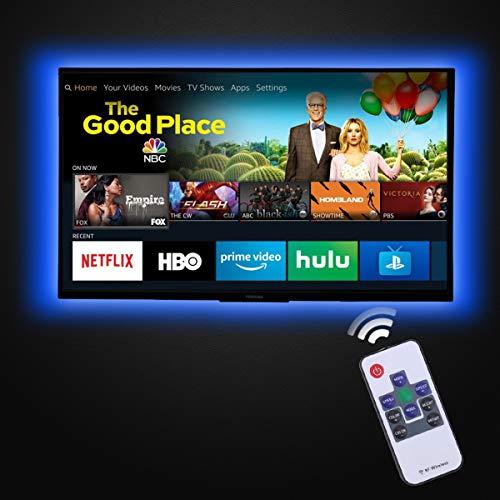 LED TV Hintergrundlicht, 2m LED-Fernseher Llichtleiste für 32-43 Zoll HDTV Bias Hintergrundbeleuchtung USB Powered 20 Farben LED Streifen TV Hintergrundlicht Zubehör mit RF-Fernbedienung