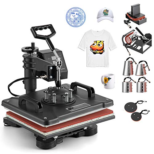 Hihone 8 in 1 Heat Press Machine, 15 x 12 inches Digital Sublimation 360 Degree Swivel Professional Heat Transfer for T-Shirt, Hat, Bag and Mug