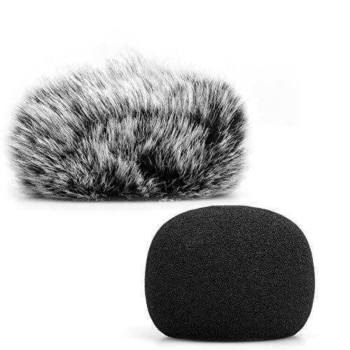 ChromLives Parabrisas para Micrófono, Protector Antiviento Peludo para Parabrisas + Cubierta de Espuma para Parabrisas para Micrófono Compatible con Zoom H1 H1n Apogee Mic y más, Furry & Foam 2Pack
