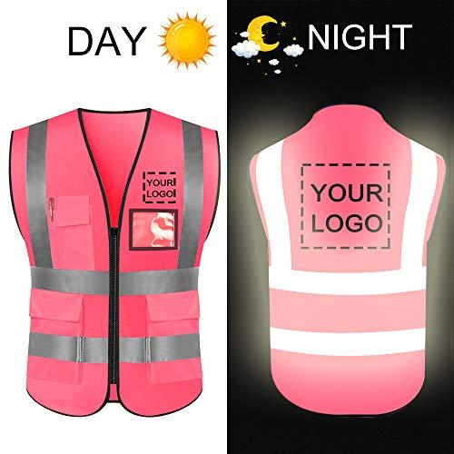 Hoge zichtbaarheid veiligheidsvest aangepast uw logo beschermende werkkleding 5 zakken met reflecterende stroken outdoor werk vest Large Pink L