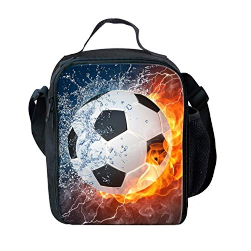 Nopersonality Classic Football Pattern Lunch Handbag with Side Water Bottle Pocket
