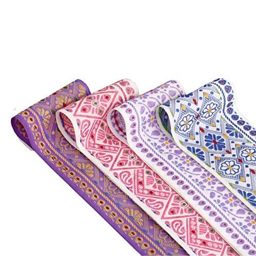 Neotrims Largeur 65 mm Assam indien Motif floral géométrique décoratif Coupe Bordure sari ruban par la cour. 4 Amazing couleur Combos ; Lavande Beige, Blanc/Rose, Blanc/Bleu, Blanc, lilas. Prix Idéal édition limitée exclusive, superbe liseré, non reproductibles., Polyester, Blanc/bleu, 1 m