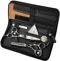 理髪はさみ理髪はさみプロフェッショナルシャープで正確にカットされたステンレス鋼ブラックレギュレーターの組み合わせセット理髪店、サロン、家庭用6.0インチ