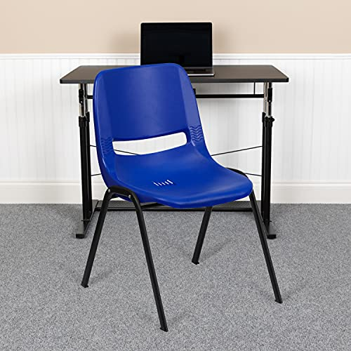 Flash Furniture 5 Pack HERCULES Series 880 lb. Capacity Blue Ergonomic Shell Stack Chair with Black Frame