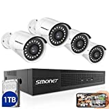 SMONET 5MP PoE Security Camera Systems,8CH Home Video Surveillance System(1TB Hard Drive),4pcs 5MP(2560TVL) POE IP Cameras,Power Over Ethernet,24/7 Recording for NVR Kits,Indoor&Outdoor CCTV Camera