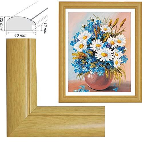RAABEC Bilderrahmen, für Bilder der Größe 40x50cm, Farbe Natur, ideal für Malen nach Zahlen Bilder von Schipper oder Ravensburger (ohne Glas)