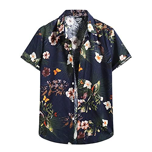 Camisa hawaiana para hombre con estampado de flores, vacaciones, para el tiempo libre, informal, para la playa, de manga corta, cuello en V C_Marine XL