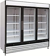 Chef's Exclusive CE331 Commercial 3 Three Swing Triple Glass Door Refrigerated Merchandiser Cooler Showcase LED Lights 72 Cubic Feet 12 Adjustable Shelves Digital Controller Locks, 81 Inch Wide, White