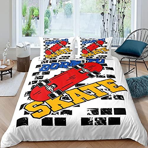 Loussiesd Younger - Juego de ropa de cama para niñas y niños, ropa de cama y lino para deportes extremos, funda de edredón para monopatín, color blanco, tamaño doble, 3 unidades