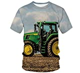 WAPDRY T-Shirt da Uomo Modello Stampato in 3D, Magliette Girocollo Traspiranti Ad Asciugatura Rapida, Manica Corta con Stampa Blu Cielo Verde Prato Verde Trattore-B_3XL