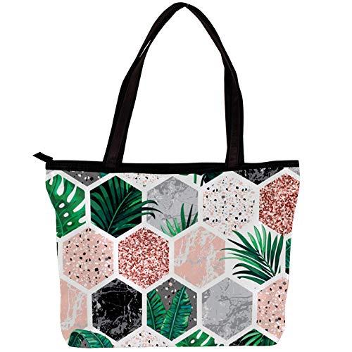Vockgeng Bolsos hobo para mujer Hexágono de planta geométrica Bolsos de tela de sarga de moda Bolso Hobo de gran capacidad 30x10.5x39cm