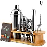 🍸【16-Piece Professional Bar Tools Set】Designed for mixing all kinds of beverages, EPTISON cocktail shaker set provides all must-have tools. Package includes 25oz cocktail shaker, 0.5/1 oz jigger, Hawthorne strainer, corkscrew, 3 pourer spouts, 5 cock...