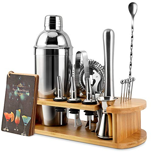 Cocktail Shaker Set, EPTISON 16-Piece Stainless Steel Bartender Kit with Stylish Bamboo Stand & Cocktail Recipes Booklet, Professional Bar Tools for Drink Mixing, Home, Bar, Parties