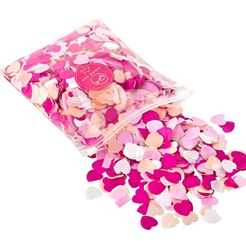 Pikka Pop ® Konfetti aus 2 cm Seidenpapier | Extra groß Herzen | Rosa, Lila, Apriko und Weiß (100g Tüte) für Party, Hochzeiten, Geburtstage, Baby Shower, Tischdeko, Streudeko für Jede Feier