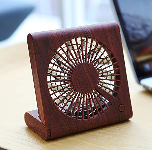 Yanglili Mini-ventilator voor notebook met houten lade, stille ventilator voor het opladen, draagbare ventilator met drie snelheden