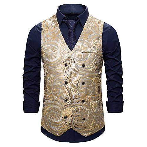 Pailletten-vest heren fonkelende glitter dunne gilet met V-hals zakelijke feestjurk pak vest foto Singer ceremoniaal vest