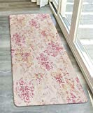 LIVEBOX Area Rug Runner, 2.6x6ft Faux Wool Abstrack Pink Flower Distressed Area Rug Traditional Persian Oriental Design Floor Mat for Entryway Laundry Bedroom Bathroom Carpet